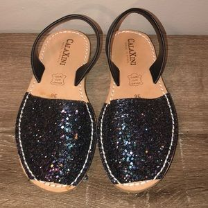 Calaxini Shoes - Calaxini leather sling back sandals black glitter.